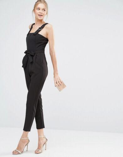 NUOVO OASIS Penny Cravatta In Vita Con Cintura Tuta su misura Nero Look Smart UK 14 16