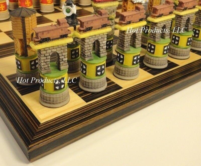 TRAIN Chess Set W  14  Ebony & Maple Wood Veneer Board
