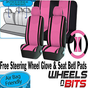 Universal-Pink-Car-Seat-Covers-Steering-Glove-Cover-Shoulder-Pads-3D-Mesh-Cloth