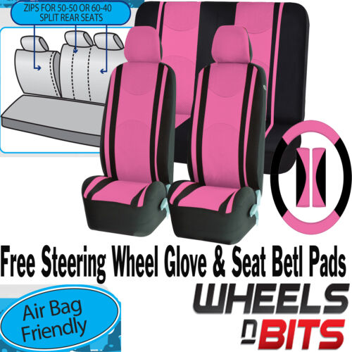 PINK Mesh Cloth Car Seat Cover Steering Glove to fit VW Corrado Fox Eos Bettle