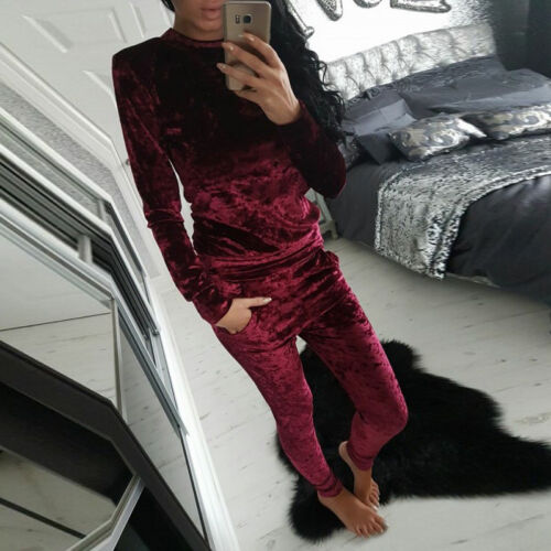 Womens Ladies Velvet Crushed 2PCS Joggings Loungwear Tracksuit Sweatshirt Set UK