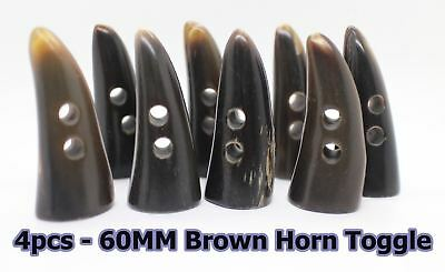 Horn Toggle 4pc Black 60mm Natural Real Buffalo Duffle Trench Coat Jacket Buckle