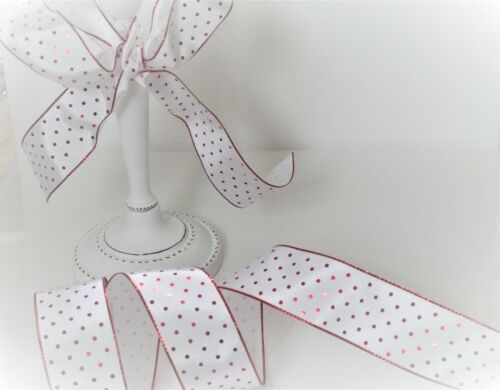 Luxury Wire Edged Ribbon CHRISTMAS Mini Polka Dots Shimmery Red Dots on white
