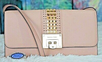 37ad67b217d586 Michael Kors Tina Stud Flap Clutch Shoulder Bag in Ballet Saffiano Leather