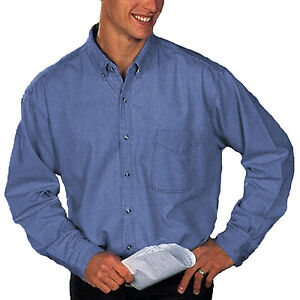 fa495080e6f2 Details about Men work Shirts South Bay Long Sleeve Cotton Shirt Washed  Denim Blue Button Down