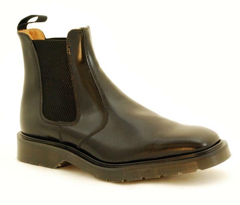 Solovair NPS Shoes Made in England Black Chelsea Square Boot S083-0900B