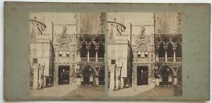 Venezia-Venzia-Entree-Palais-Ducale-Italia-Foto-Stereo-Vintage-Albumina-c1860