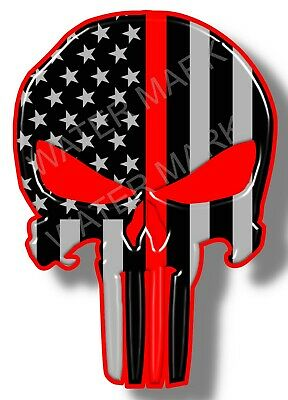 Thin Red Line Punisher Skull Vinyl Sticker Decal
