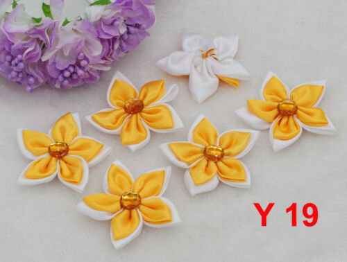 5//100PCS À faire soi-même Ruban Satin Fleur Avec cristal Appliques Arcs Craft Supplies cadeau