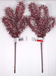 image is loading red amp silver metallic tinsel leaves floral picks