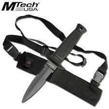 MTech Fixed Blade Knife Black Finish Dagger With Shoulder Strap Sheath