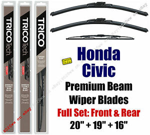 Wipers 3-Pack Premium Front /& Rear 19260//190//16A fit Toyota Prius 2010-2015