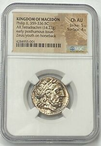 Kingdom-Of-Macedon-Philip-II-359-336-BC-Silver-Tetradrachm-NGC-CHAU-Authentic