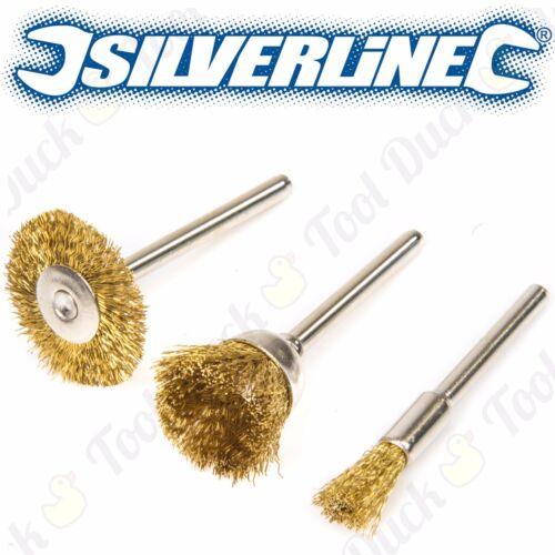 3Pc QUALITY BRASS WIRE 5-22mm ROTARY TOOL WHEELS Dremel Metal Silver Polishing