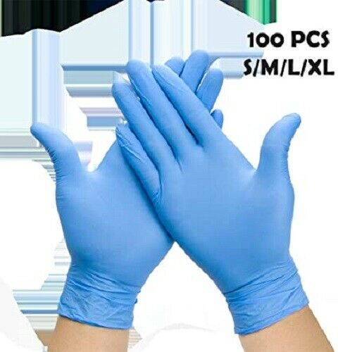 100X Disposable Nitrile Safety Cleaning Gloves POWDER LATEX FREE Durable Rubber 13