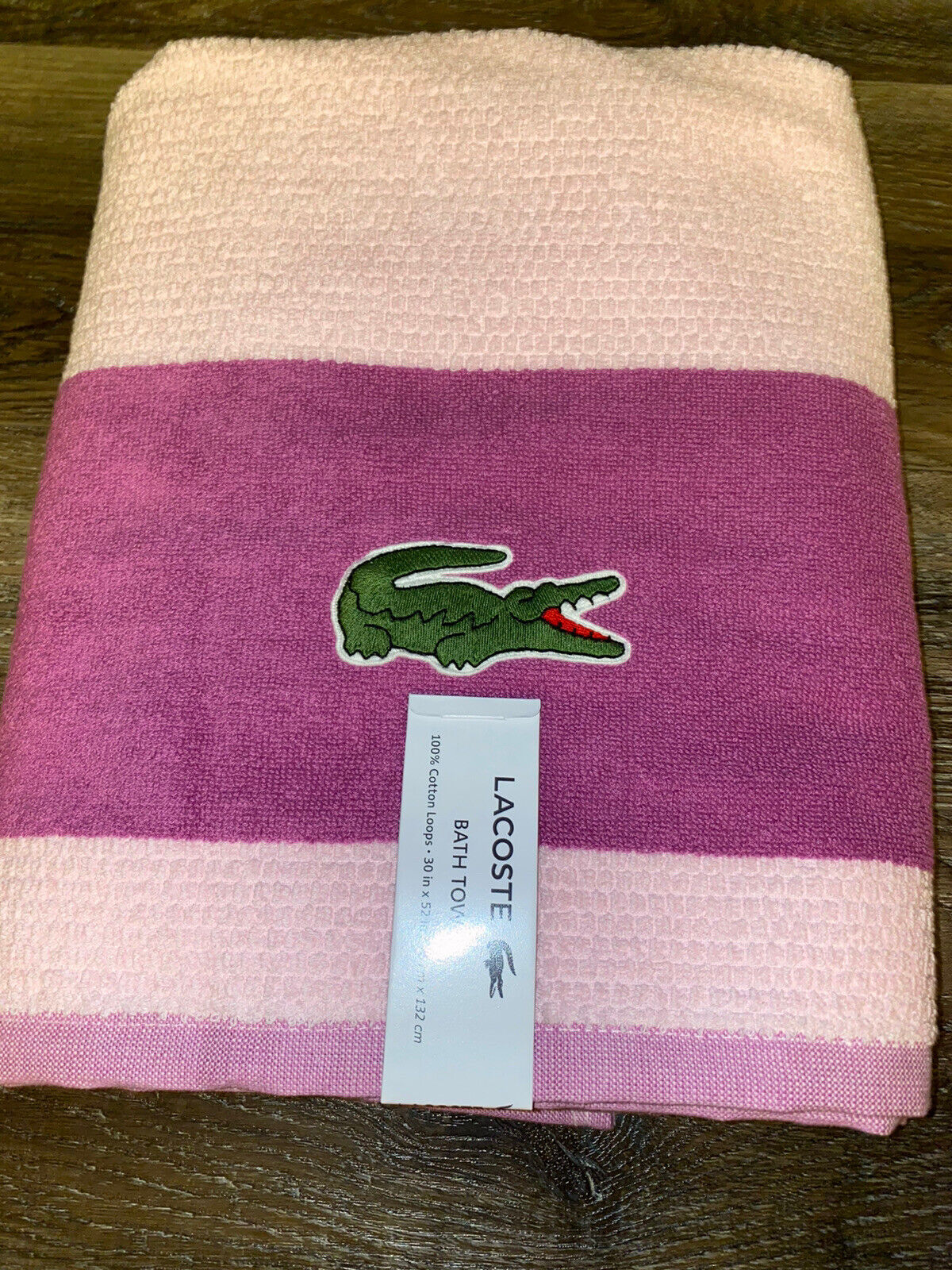 Lacoste ~ Pink Purple Bath Towel 100% Cotton 30
