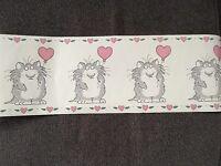Love Cat W/ Heart Balloon Rare Roll Sandra Boynton Wallpaper Border 5 Yds 7