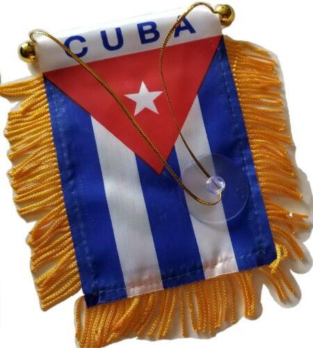 Cuba Cuban Mini Banner Flag Car Home Window Rearview Mirror Country Map Gift