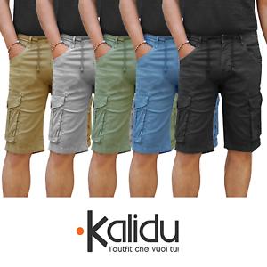 Bermuda-Uomo-Cargo-Pantalone-corto-Cotone-Tasconi-Laterali-Shorts-Casual-Nero