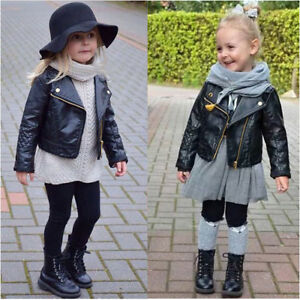 e39c97d0dd3f Autumn Winter Kids Baby Boys Girls Leather Jacket Short Overcoat ...