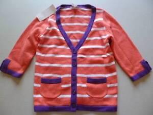 GYMBOREE-Cherry-Blossoms-Coral-amp-Purple-Striped-Cardigan-Sweater-4-5-6-10-12-NEW