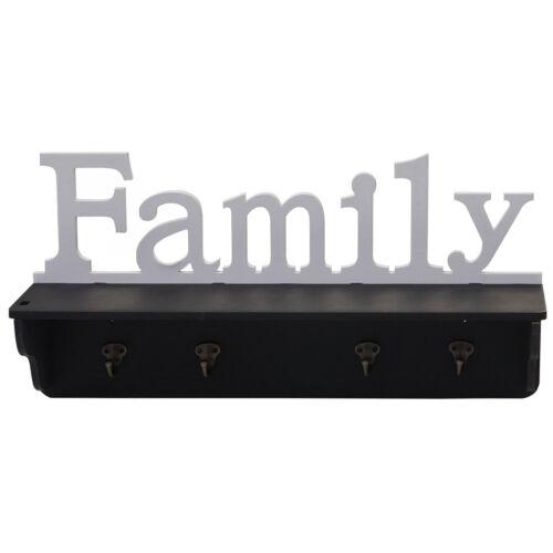 Wandgarderobe HWC-D41 Family 4 Haken massiv 30x60x13cm Garderobe Regal