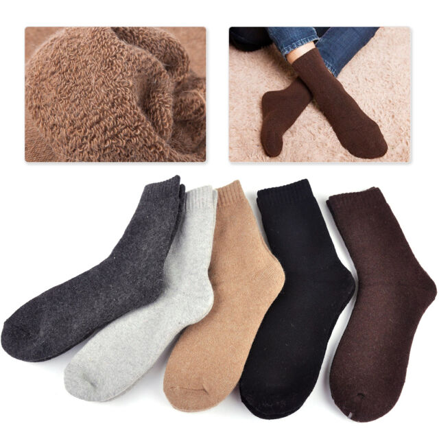 5 Paar Wolle Socken Warm Kaschmir Strumpf Winter Solid Herrensocken Bussiness