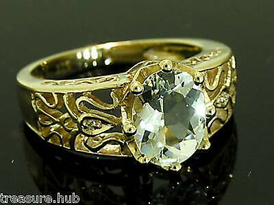 R155- 9ct Solid GOLD NATURAL Aquamarine DIAMOND Solitaire Ring size M