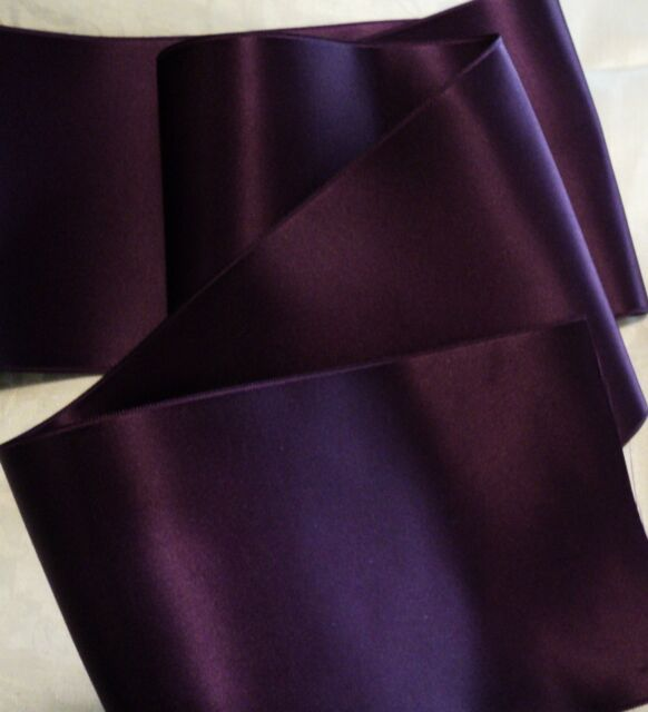 """2-3/4"""" WIDE SWISS DOUBLE FACE SATIN RIBBON - EGGPLANT / PLUM - BY THE YARD"""