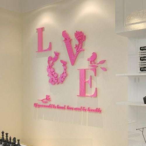 3D Mirror Love Flower Art Acrylic Mural Decal Wall Sticker Living Room Decor