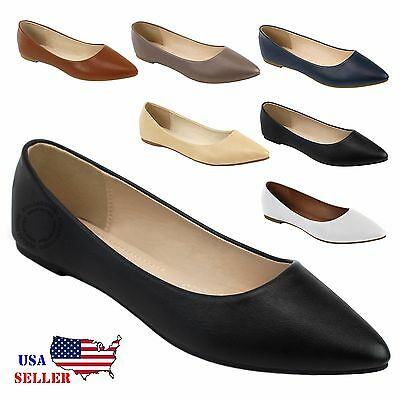 New Womens Leather Lined Pointy Toe