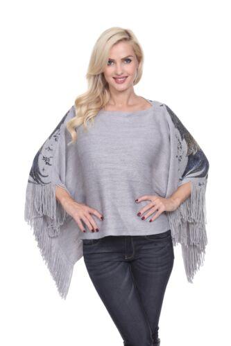 White Mark Classic Multi Colored Eagle Wings Poncho For Women