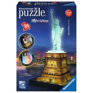 RAVENSBURGER-3D-Puzzle-Freiheitsstatue-bei-Nacht-Night-Edition-Bauwerk-108-Teile
