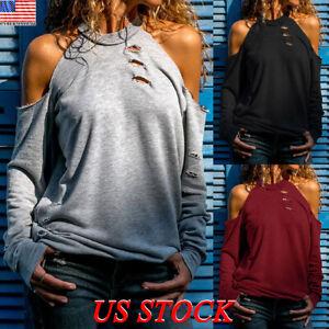 Women-Cold-Shoulder-Long-Sleeve-Blouse-Tee-Ladies-Casual-Tops-T-Shirt-Sweatshirt