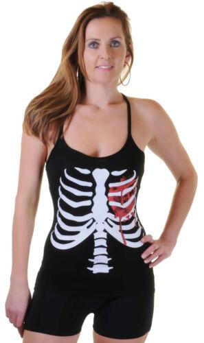 NEW WK LADIES WOMEN/'S BLACK STRETCHY SKELETON BLOODY HEART PRINTED VEST TOP 8-14