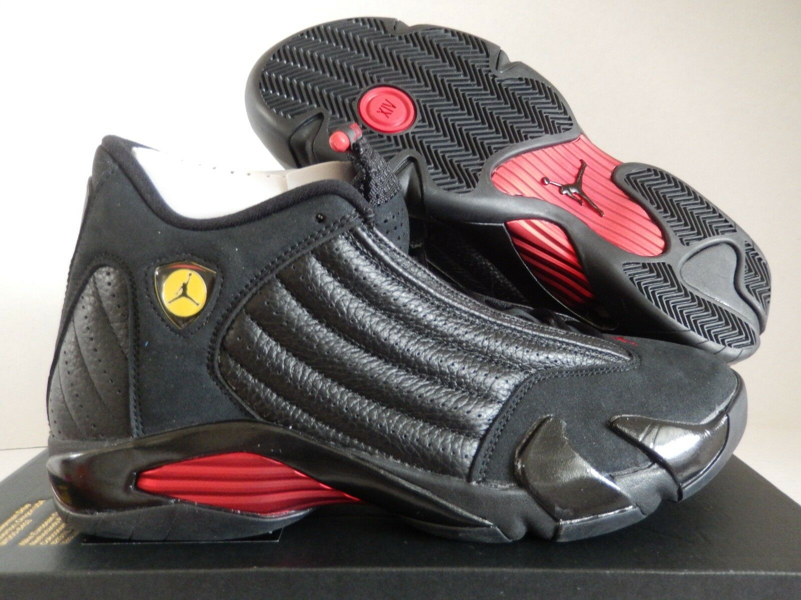 NIKE AIR JORDAN 14 RETRO BLACK-VARSITY RED-BLACK SZ 14 [487471-003]