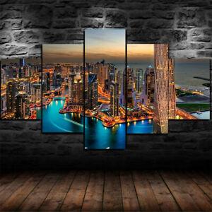 Details about Dubai City Burj Khalifa skyline 10 panel canvas Wall Art Home  Decor Poster Print
