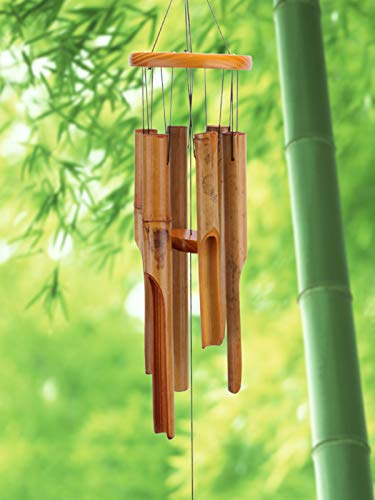 Afirst Wooden Wind Chimes Outdoor, Bamboo Wind Chimes with Amazing Deep Tone for
