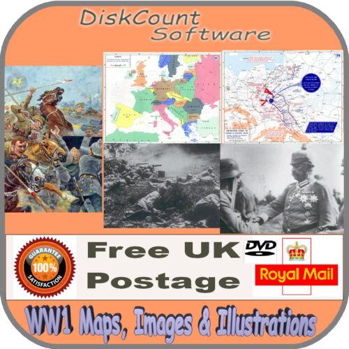 Guerra Mundial 1-85 mapas 1573 fotos y 100 illustations WW1 en CD
