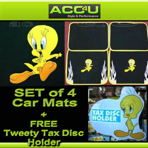 Universal Yellow Flame Black Carpet Tweety Pie Car Mats Set of 4 Mats