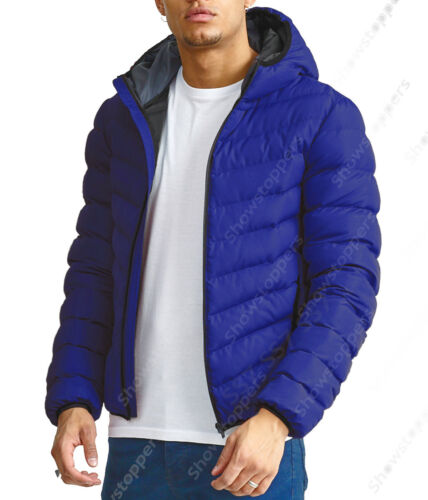 NEW Men Padded Quilted Parka Coat Jacket Puffer Hooded Black Navy Size S M L XL