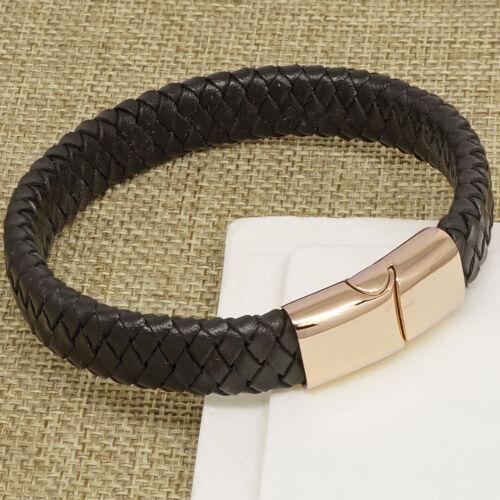 IP Rose Gold Plated Mens Black Personalised Leather Bracelet ENGRAVED GIFT