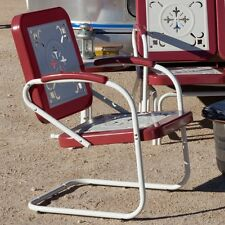 Retro Metal Lawn Chairs Armchair Red Outdoor Vintage Patio Garden Poolside G
