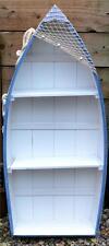 91cm WOODEN Pale Blue & White ROWING BOAT SHELVES Net Anchor Bookcase Shelf Unit