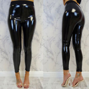 New-Black-Women-Strethcy-Shiny-Wet-LOOK-Vinyl-Leggings-S-XL-Long-Pants-Trousers