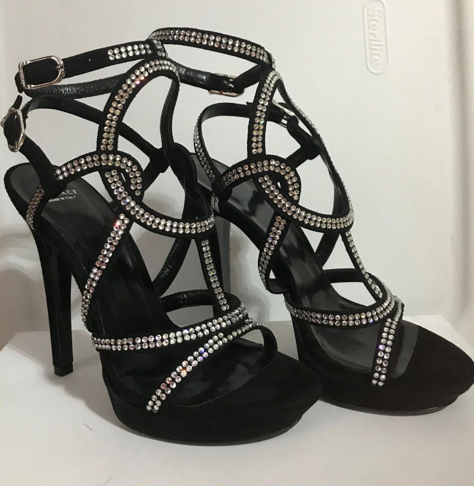 Versace negro negro negro Zapatos Sandalias De Tiras Talla 36.5  hermoso