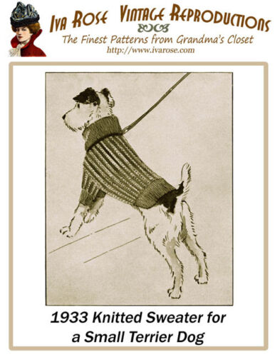 1933 Sweater Pattern in Knitting to Fit a Small Terrier Dog