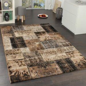 Patchwork Rug Brown Beige Black Oriental Pattern Carpet Bedroom ...