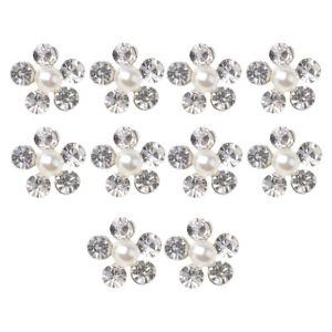 10X Pearl Crystal Rhinestone Buttons Flower Flatback Wedding Craft Embellishment