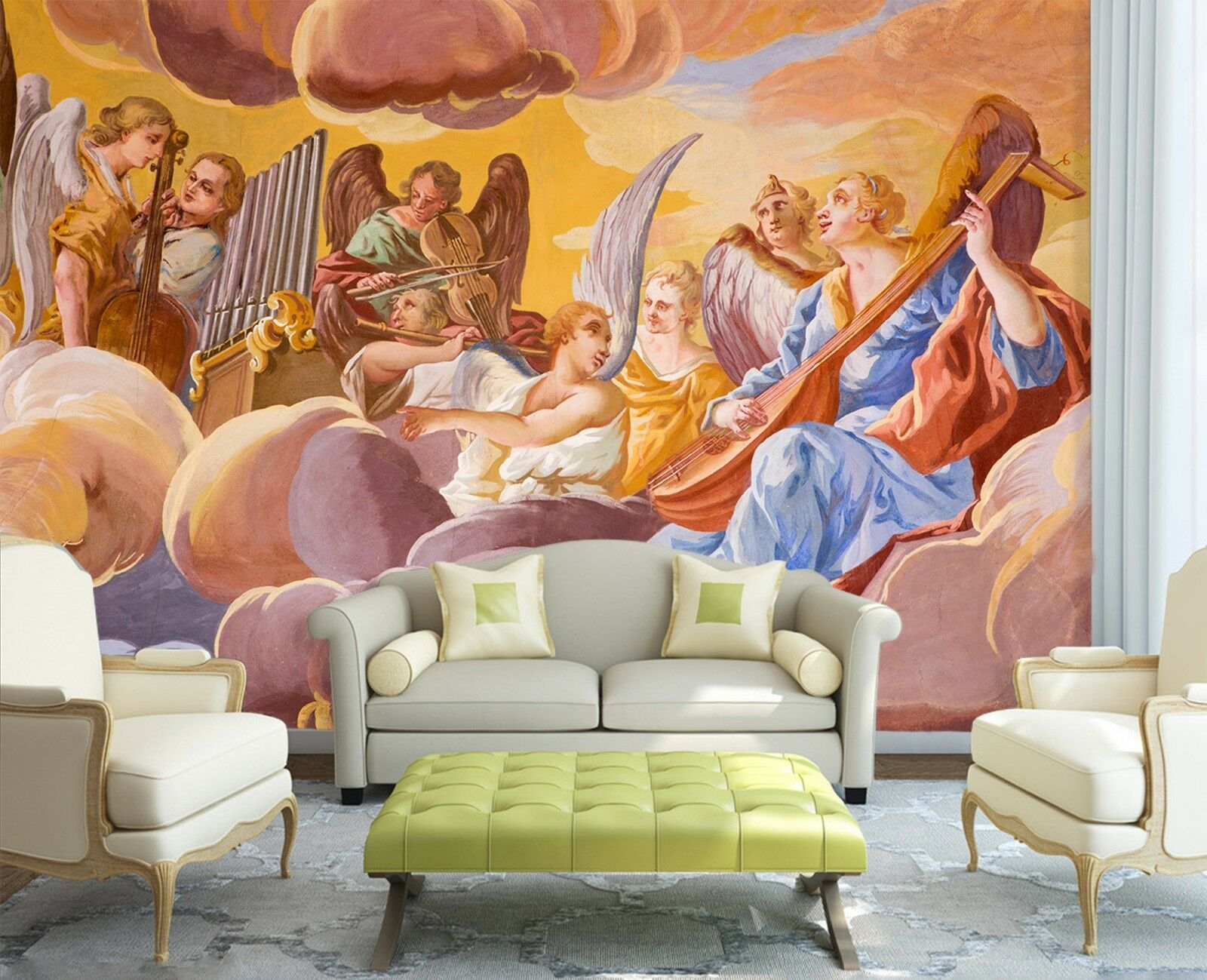 3D Angel Party Painting  2 Wallpaper Mural Wall Print Decal Indoor Murals AU